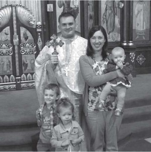 Fr James & Mat. Holly  with their children (L-to-R: Samuel, Ariane, & Eleanor)